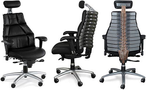 Une chaise de bureau avec colonne vert brale blogeek - Chaise de bureau ergonomique dos ...